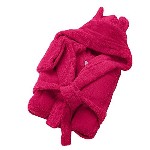 SOHYGGE - Accappatoio per bambini, 450 g/m2, per ragazzi e ragazze, 100% cotone spugna, ecologico OEKO-TEX – accappatoio da bagno per bambini con cappuccio, rosa fucsia, 7-8 Anni