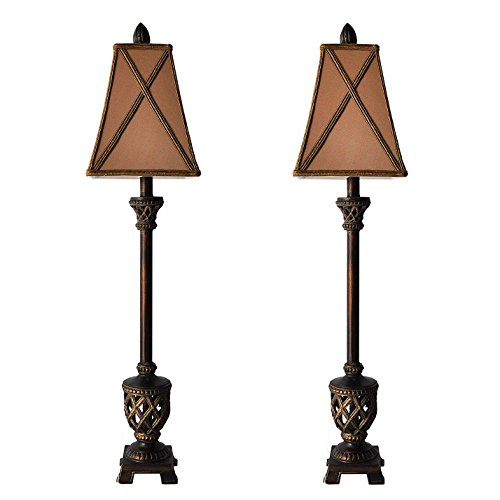 Set of 2 -- MESTAR 35-inch Traditional Bronze Buffet Lamps Table Lamp Set for Living Room
