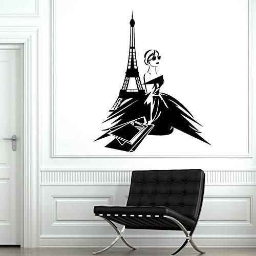 París Francia Sexy Woman Shopping Tower Vinilo adhesivo para pared, decoración interior de la habitación de la niña, tienda de moda, mural para ventana, 42 x 50 cm
