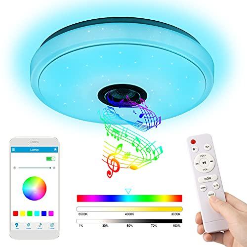 36W Music LED Deckenleuchte, YOMERA Bluetooth Deckenleuchte mit RGB Farbwechsel / Fernbedienung und APP Control / 3000-6500K, Deckenleuchte für Wohnzimmer, Flur, Schlafzimmer, Küche, Ø 33 cm