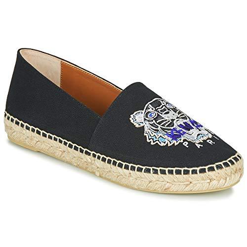 Kenzo Espadrille Classic Tiger Stoffpantoletten/Espandrillos Damen Schwarz - 39 - Leinen-Pantoletten Mit Gefloch Shoes