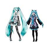 SUNKEE Vocaloid,Hatsune Miku Cosplay Disfraz +120cm Peluca, Tamaño M (Altura 158-163 cm, Peso 45-50 kg)