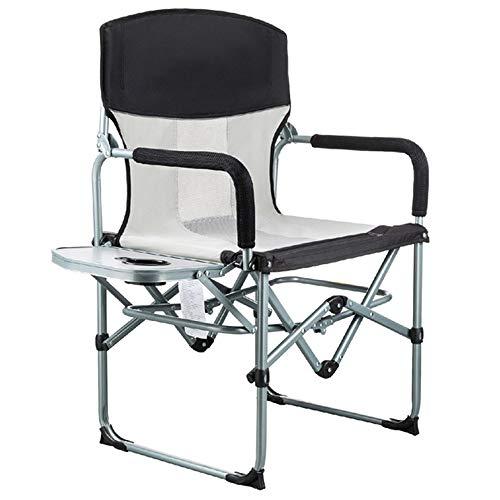 YANGMAN Chaise Pliante de Directeur de Camping en Acier Robuste Chaise de pêche Portable, pour Le Jardinage en randonnée et la Plage, avec Table d'appoint, Prend en Charge 120 kg