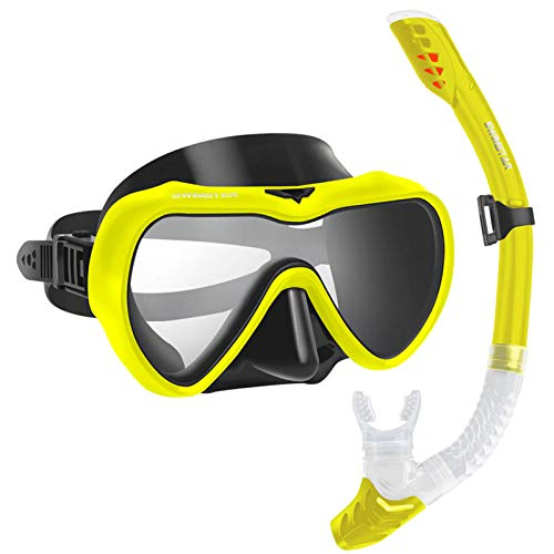 2020 Snorkel Set for Women and Men, Anti Fog Tempered Glass Snorkel Mask for Snorkeling, Swimming and Scuba Diving, Anti Leak Dry Top Snorkel Gear Panoramic Silicone Goggle No Leak Yellow