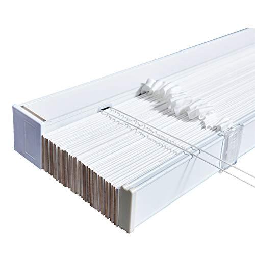 SUBBYE Persianas Venecianas De Madera Blanco Persianas Venecianas con Riel de Aleación de Aluminio, Listones de 5cm Vertical Oscurecimiento para Guarderías Habitaciones Infantiles, Impermeable