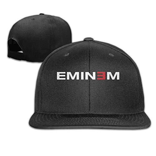 Youaini Eminem Logo Snapback Adjustable Flat Baseball Cap/Hat Black
