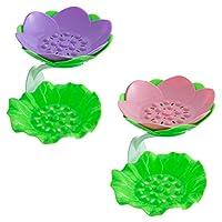 Cabilock 2個蓮の花ソープディッシュドレインシリコン石鹸ホルダーノン柔軟な石鹸トレイ浴室のシャワー