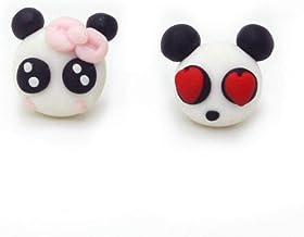 Hecho a Mano Lindo Panda Stud Pendientes Joyería de Moda Polymer Clay Cartoon Lovely Animal Earrings para Mujeres
