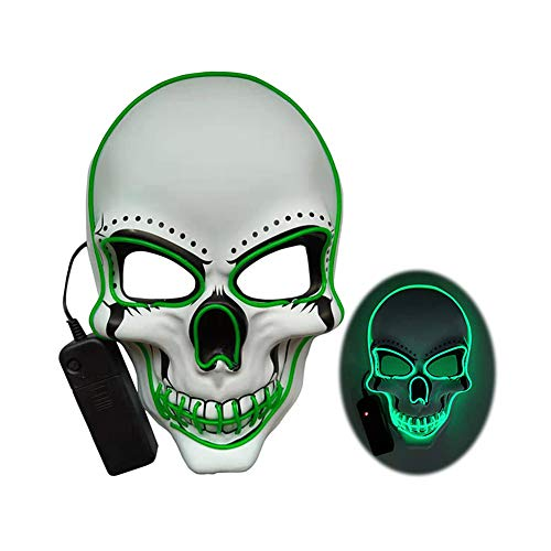 CXSMKP Halloween Gruselige Maske, Spülmaske, LED-Glühen Unheimlich EL-Draht-Maske Aufleuchten...