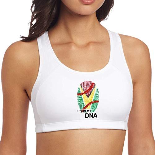 XCNGG Guyana Flag Baseball in My DNA Mujeres Sujetadores Deportivos Sin Mangas Racerback Yoga Tops