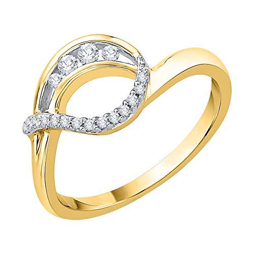 KATARINA Diamond Curved Fashion Ring in 14k Yellow Gold (1/6 cttw, J-K, SI2-I1) (Size-9.5)