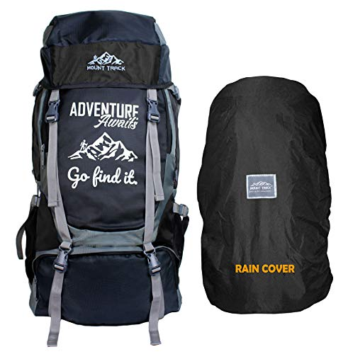 Mount Track Adventure Series 55 Ltrs Rucksack for Hiking & Trekking with Shoe Compartment (Black)