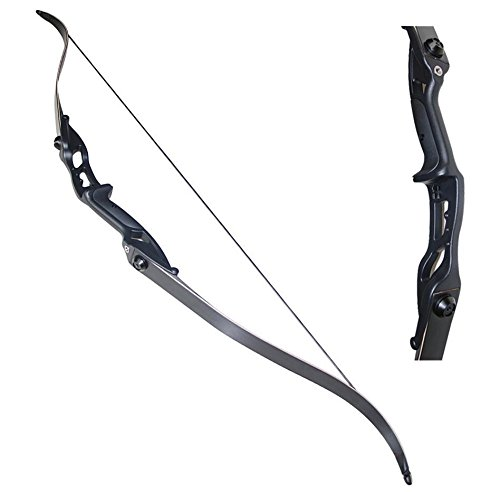 TOPARCHERY Archery 56' Takedown Hunting 45lbs Recurve Bow Metal Riser Right Hand Black Longbow