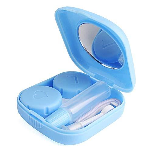 Juanya Étui de Lentilles de Contact Mini Boîte pour Lentilles Portable Coloré Mignon Kit de Voyages avec Miroir Pincette Bâton Bouteille Bleu