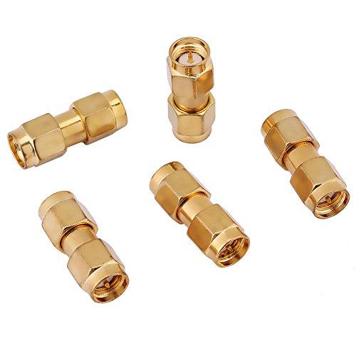 Leku Conector coaxial - Juego de adaptadores de Conector coaxial Recto de 5 Piezas RF SMA Macho a SMA Macho