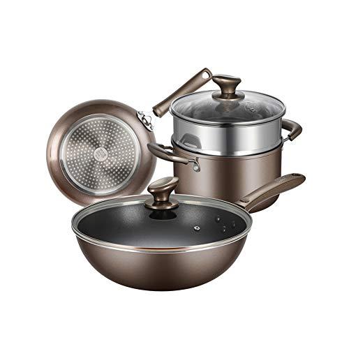 Roestvrij stalen pannenset, 3-delige pannenset, kookset, Wok, Koekenpan, Steamer, Soeppot