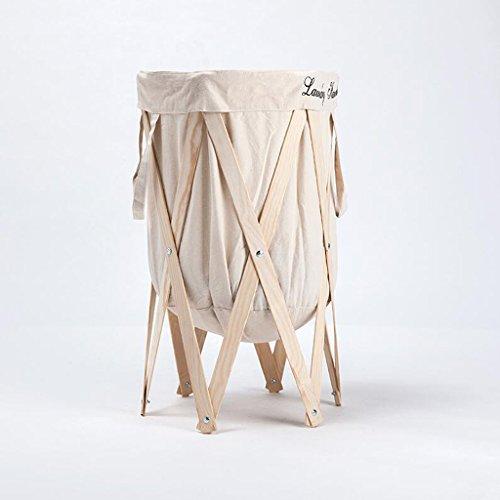 Beige Tissus Stent de couleur bois Changer les paniers de vêtements Corbeille de rangement Salle de bain en tissu avec panier à linge Plier le panier Rollsnownow