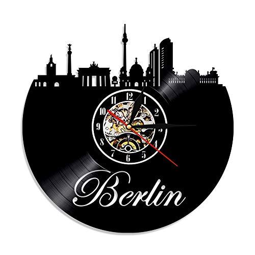 Colorido 1 Pieza Alemania Skyline decoración del hogar Berlín Vinilo Disco Silueta Reloj de Pared Paisaje Urbano retroiluminación LED Euro Travel Souvenir 12 Pulgadas