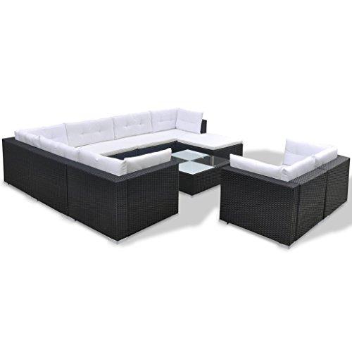 Festnight 32-TLG. Gartensofa Set mit 1 Teetisch Gartenlounge Garten Lounge-Set aus Polyrattan Loungegruppe Sitzgruppe für Terrasse Garten - Schwarz - 3