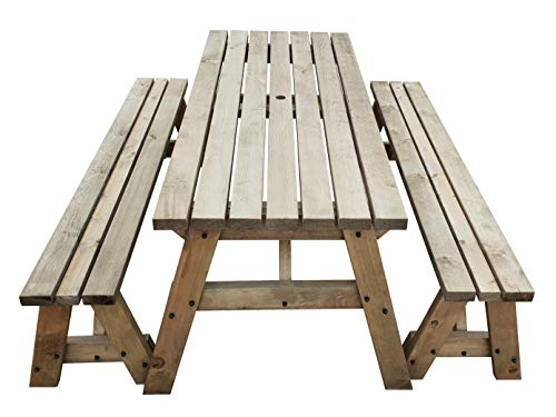 Victoria Wooden Picnic Table and Benches Set – Outdoor Garden Furniture Handmade in The UK – Light Green (Natural) or Rustic Brown Finish - 3ft to 8ft in Length (5ft, Rustic Brown)