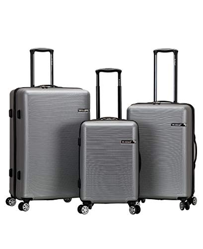 Rockland Skyline Hardside Spinner Wheel Luggage Set, Silver, 3-Piece (20/24/28)