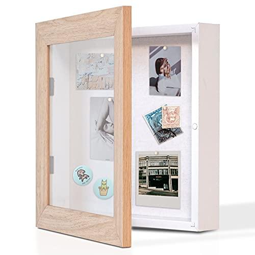 Muzilife 3D Bilderrahmen mit Magnetische Tür 25 x 25 cm Holz Objektrahmen zum Befüllen mit 6 Stecknadeln Schaukasten Shadow Box Frame, Geschenk für Hochzeit Medaillen Erinnerungsbox (Hell Natur)
