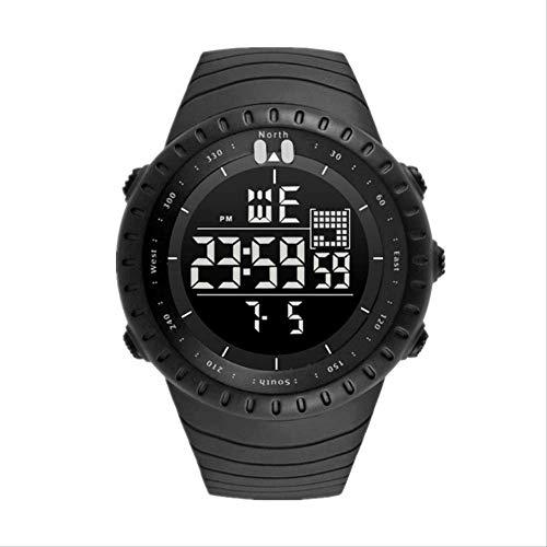 Horloge Eenvoudige Waterdichte Mode Mannelijke en Vrouwelijke Studenten Paar Led LCD Scherm Sport Outdoor Multi-Functie Elektronisch Horloge (Zwart)