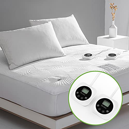 Queen Size Zoned Electric Heated Mattress Pad Dual...