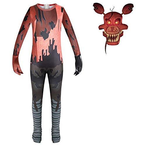 Daiwen Disfraz FNAF Nightmare Foxy Jumpsuit Five Nights Disfraz Scary Foxy para Niños Fiesta de Halloween Juego de Roles