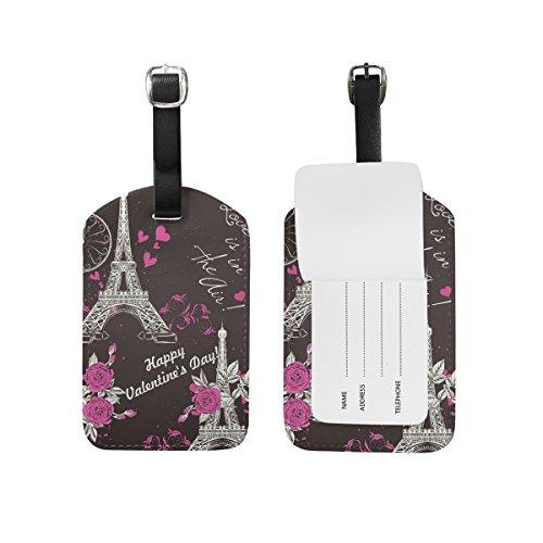 TIZORAX Paris Eifel Tower Flower PU Leather Luggage Bag Tags Suitcase Labels,1 Pcs