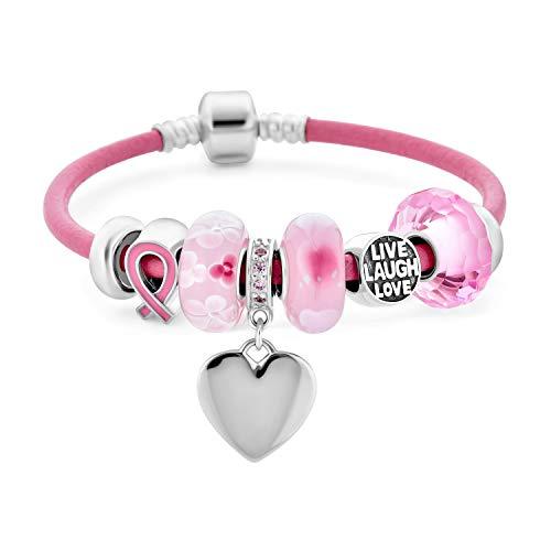 Amor vivo risa apoyo de mama cáncer de corazón rosa cinta tema cuentas encanto pulsera .925 plata esterlina rosa cuero genuino barril Snap cierre pulseras 6.5 pulgadas personalizadas grabadas