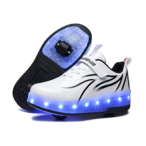 HHSTS Kids Shoes with Wheels LED Light Color Shoes Shiny Roller Skates Skate Shoes Simple Kids Gifts Boys Girls The Best Gift for Party Birthday Christmas Day(12 Little Kid,White Black)