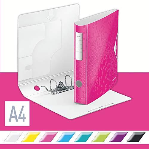 Leitz 11070023 Multifunktions-Ordner (A4, Runder Rücken (6, 5 cm Breite) Gummibandverschluss, Kunststoff, WOW) pink metallic