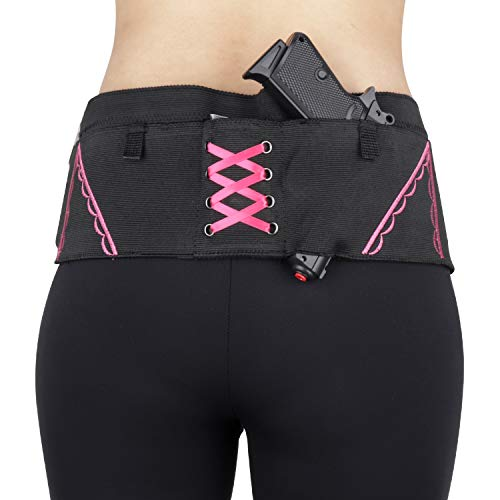 Kosibate Belly Band Holster, Concealed Carry Gun Holsters for Women, Compatible with 380 9mm 38 Revolver and Pistol Holster (Pink, Large 37'-40')