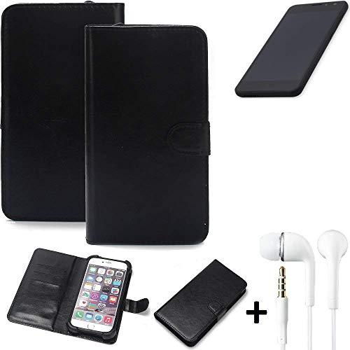 K-S-Trade® Wallet Case Handy Hülle Für Shift Shift5.3 Schutz Hülle Smartphone Flip Cover Flipstyle Tasche Schutzhülle Flipcover Slim Bumper Schwarz + In Ear Headphones