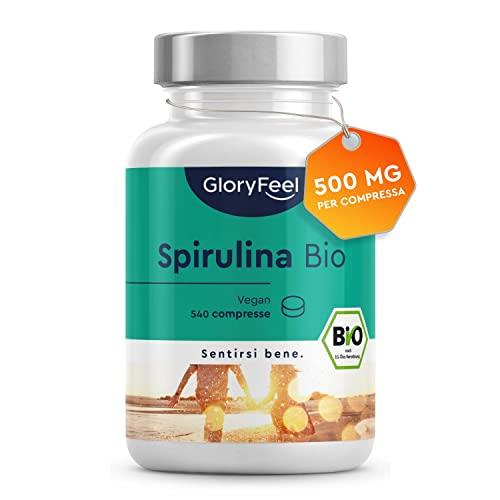 Spirulina Bio con 26% Ficocianina, 540 Compresse, Alga Spirulina Bio, Spirulina Compresse, Ricostituente Naturale + Energia + Sistema Immunitario, Alga Spirulina Blu, 500mg per Compressa