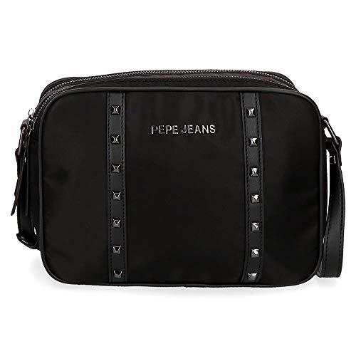Pepe Jeans Roxanne Bandolera Negro 25x15x6,5 cms Nailon y Piel Sintética