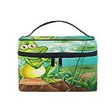 Bolsa de maquillaje, diseño de árbol de rana, estuche de viaje portátil con impresión grande, bolsa de cosméticos, compartimentos para niñas y mujeres