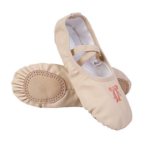 iiniim Zapatillas Ballet Clásico Cuero Bailarinas Niña Zapatos de Danza Baile Rosa/Albaricoque Talla 26-34 para Niñas Chicas Nude 33