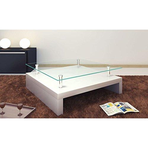 Lingjiushopping salontafel, vierkant, van glas, kleur: sneeuwwit, breedte: 77 cm