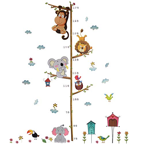 Xingsky Wandtattoo Kinderzimmer,Messlatte Wandsticker, Messen Aufkleber Wandaufkleber Babyzimmer Elefant Tiere Dschungel Affen für Wohnzimmer Schlafzimmer Kinderzimmer