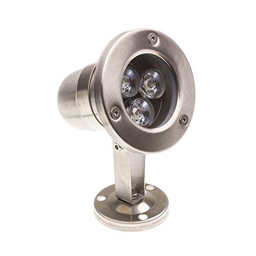 LEDKIA LIGHTING Foco LED RGB de Superficie Inox 12V 3W Sumergible IP68 RGB