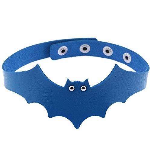 Regalo de la joyería gótica Gargantilla Nueva Bat Accesorios Corazón Fresco Collar de la Mujer de la Vendimia Collar Hecho a Mano (Metal Color : Azul Claro, Size : Gratis)