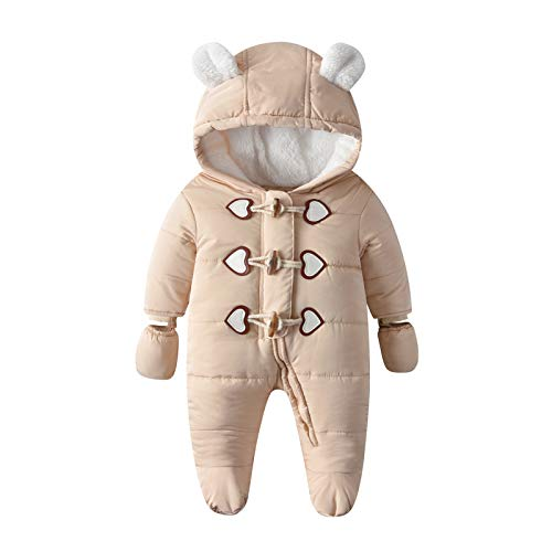 Yuwao Baby Schneeanzug Winter Warm Overall mit Kapuze Jungen Mädchen Strampler Baumwoll Langarm mit Handschuhen Jumpsuit Onesies Bodysuits 6-12 Monate Beige