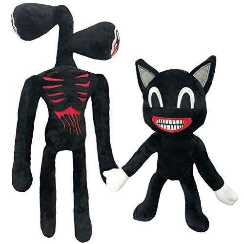 Muñecas de gato negras, de doble cabezal, de peluche, con cabeza de sirena, suave, juguete de Halloween, regalo para niños