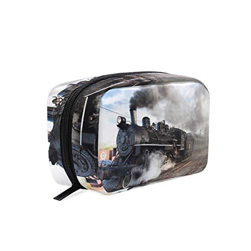 Trousse de maquillage classique train de vapeur fumée pochette pochette cosmétique