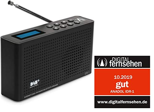 Anadol 4in1 IDR-1 Radio - tragbares Internetradio - DAB / DAB+ Digitalradio FM/UKW fähig - Bluetooth-Lautsprecher & Wifi - tragbares Dual digital Radio integrierter Akku - Kopfhöreranschluss - schwarz