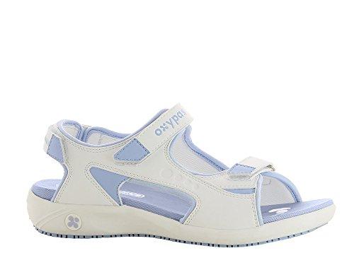 """Oxypas Oxypas Move Line, Berufsschuh, komfortabele Sandale """"Olga"""" aus Leder, antistatisch (ESD), in vielen Farben (37, weiß - hellbau)"""
