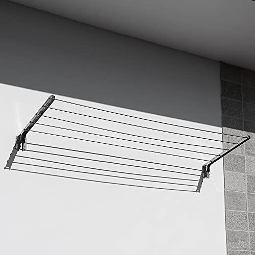 Stendibiancheria da Esterno da Parete Stendino Balcone Stendi Biancheria in Acciaio INOX Retrattile Anti-Ruggine Anti-Corrosione Resistente fino a 40 Kg Pieghevole...