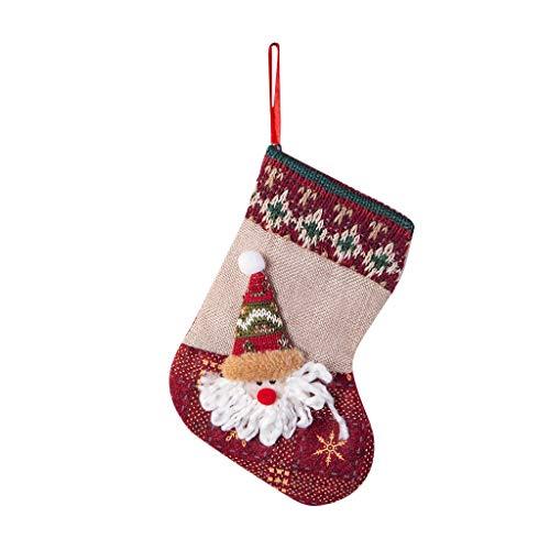 Heetey Weihnachten Home Decor, Weihnachtsstrümpfe Mini Socken Santa Candy Geschenktüte Christbaumschmuck Weihnachtsdekoration Anhänger Süßigkeiten Aufbewahrungstasche